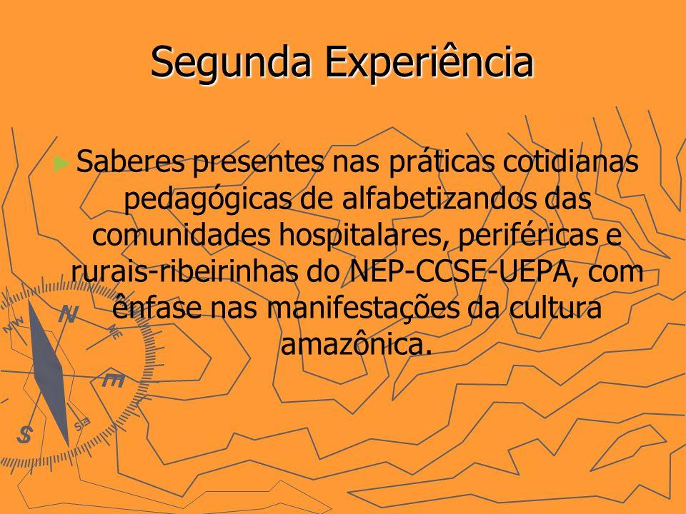 Segunda Experiência Saberes presentes nas práticas cotidianas pedagógicas de alfabetizandos das comunidades hospitalares, periféricas e rurais-ribeirinhas do NEP-CCSE-UEPA, com ênfase nas manifestações da cultura amazônica.