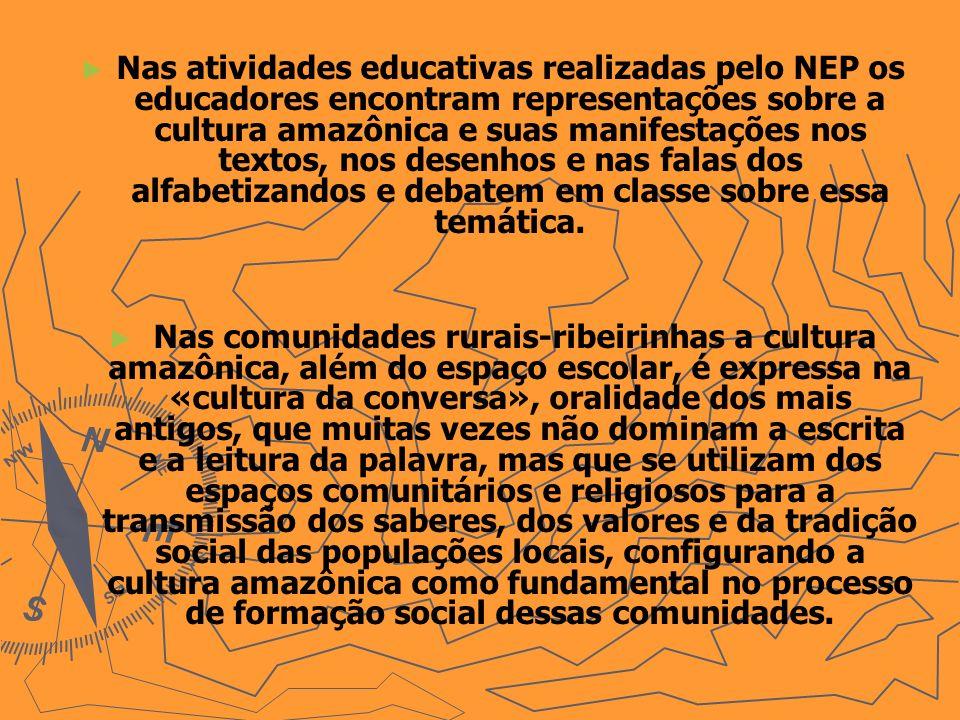 Nas atividades educativas realizadas pelo NEP os educadores encontram representações sobre a cultura amazônica e suas manifestações nos textos, nos de