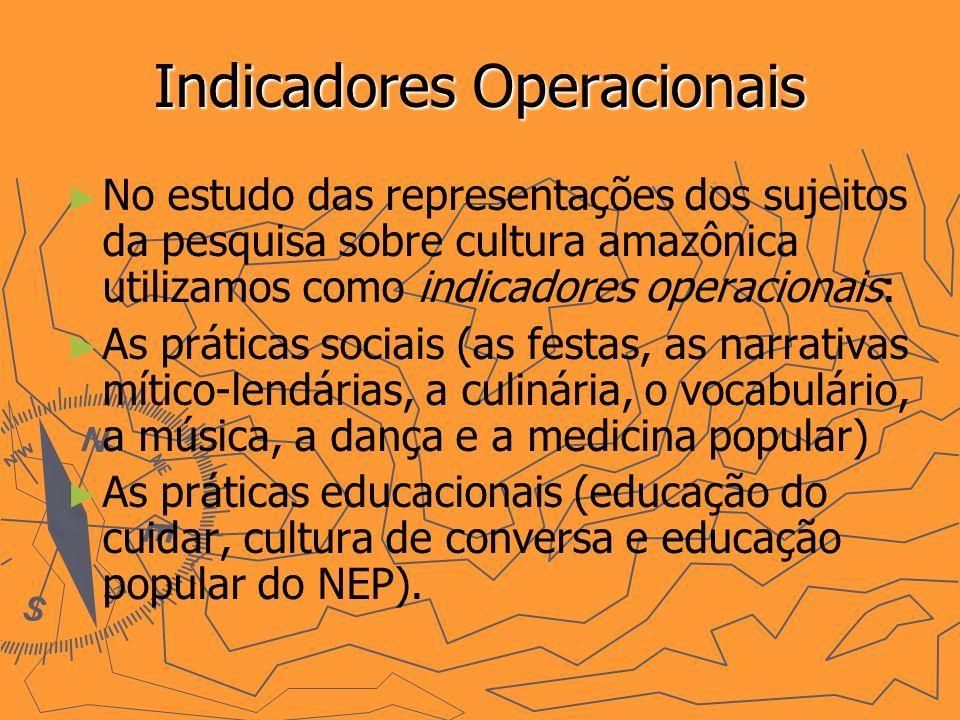Indicadores Operacionais No estudo das representações dos sujeitos da pesquisa sobre cultura amazônica utilizamos como indicadores operacionais: As práticas sociais (as festas, as narrativas mítico-lendárias, a culinária, o vocabulário, a música, a dança e a medicina popular) As práticas educacionais (educação do cuidar, cultura de conversa e educação popular do NEP).
