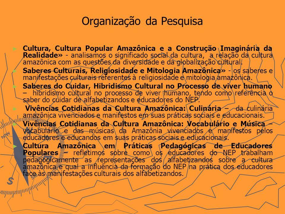 Organização da Pesquisa Cultura, Cultura Popular Amazônica e a Construção Imaginária da Realidade» - analisamos o significado social da cultura, a relação da cultura amazônica com as questões da diversidade e da globalização cultural.
