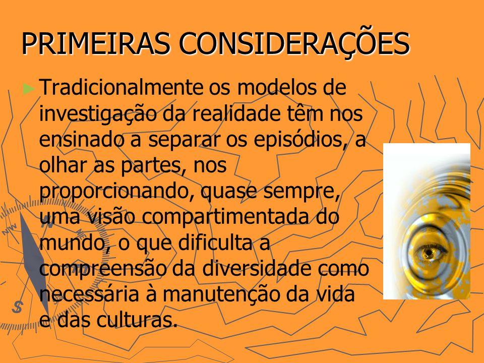 PRIMEIRAS CONSIDERAÇÕES Tradicionalmente os modelos de investigação da realidade têm nos ensinado a separar os episódios, a olhar as partes, nos propo