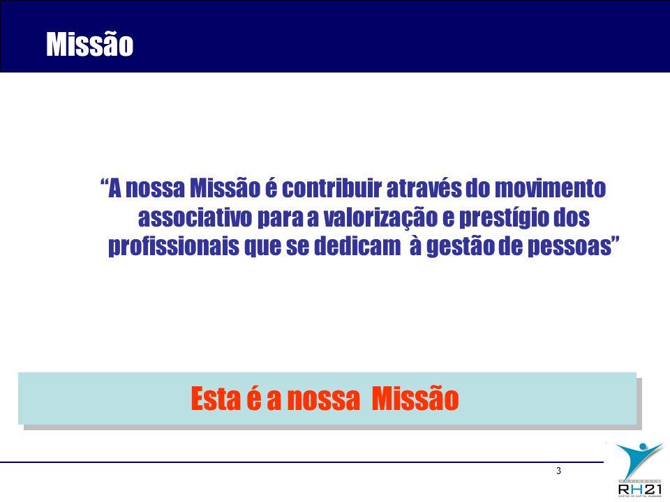 3 A nossa Missão é contribuir através do movimento associativo para a valorização e prestígio dos profissionais que se dedicam à gestão de pessoas Missão Esta é a nossa Missão
