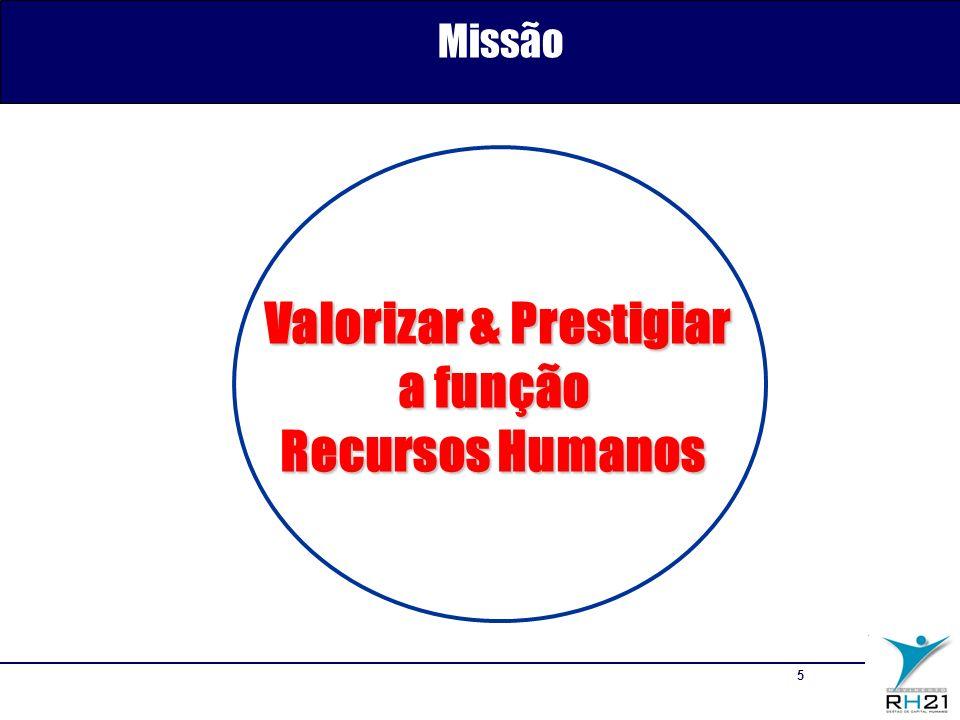 5 Valorizar & Prestigiar Valorizar & Prestigiar a função Recursos Humanos Missão