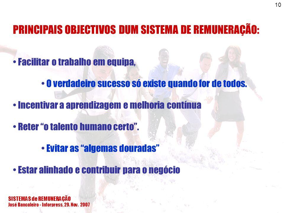 SISTEMAS de REMUNERAÇÃO José Bancaleiro - Inforpress, 29. Nov. 2007 10 PRINCIPAIS OBJECTIVOS DUM SISTEMA DE REMUNERAÇÃO: Facilitar o trabalho em equip