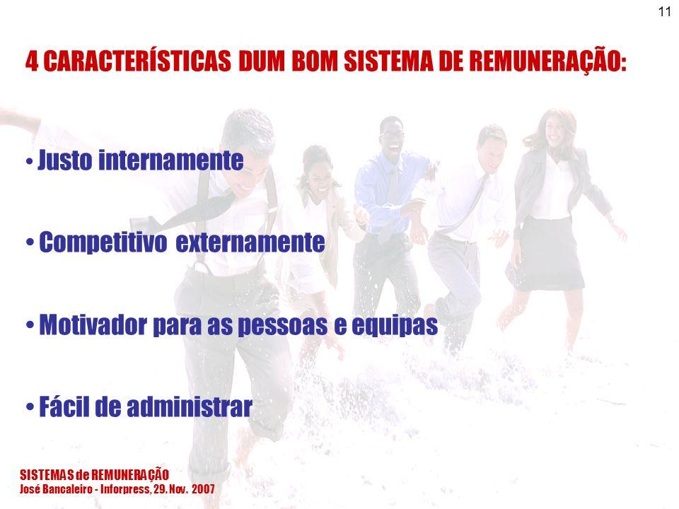 SISTEMAS de REMUNERAÇÃO José Bancaleiro - Inforpress, 29. Nov. 2007 11 4 CARACTERÍSTICAS DUM BOM SISTEMA DE REMUNERAÇÃO: Justo internamente Competitiv