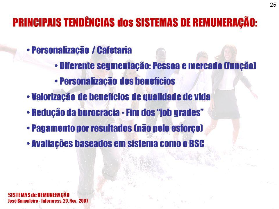 SISTEMAS de REMUNERAÇÃO José Bancaleiro - Inforpress, 29. Nov. 2007 25 PRINCIPAIS TENDÊNCIAS dos SISTEMAS DE REMUNERAÇÃO: Personalização / Cafetaria D