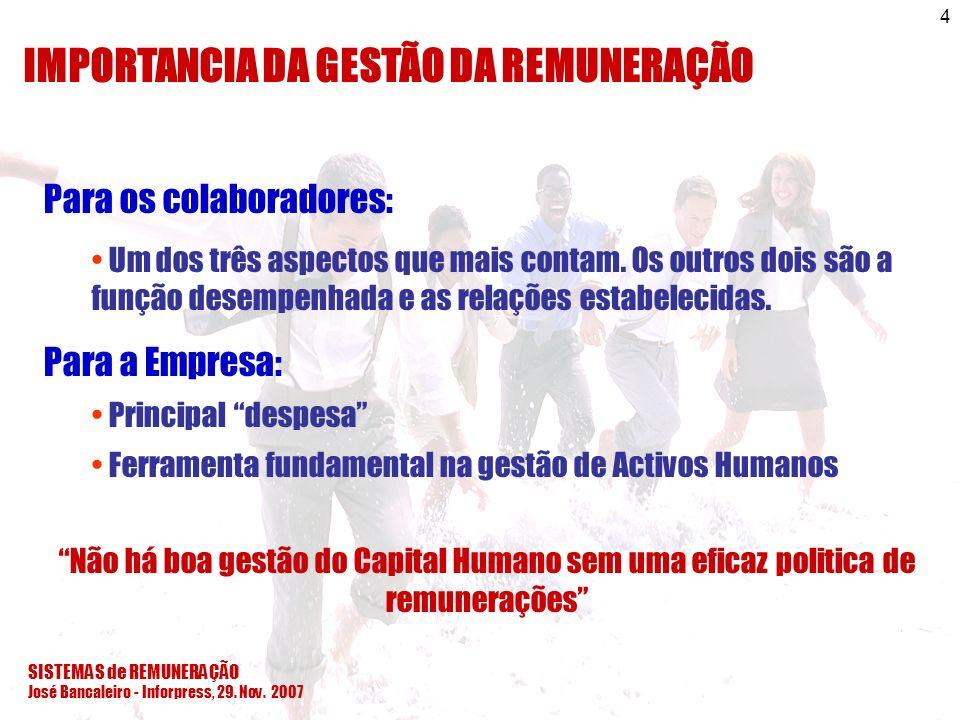 SISTEMAS de REMUNERAÇÃO José Bancaleiro - Inforpress, 29. Nov. 2007 4 IMPORTANCIA DA GESTÃO DA REMUNERAÇÃO Para os colaboradores: Um dos três aspectos