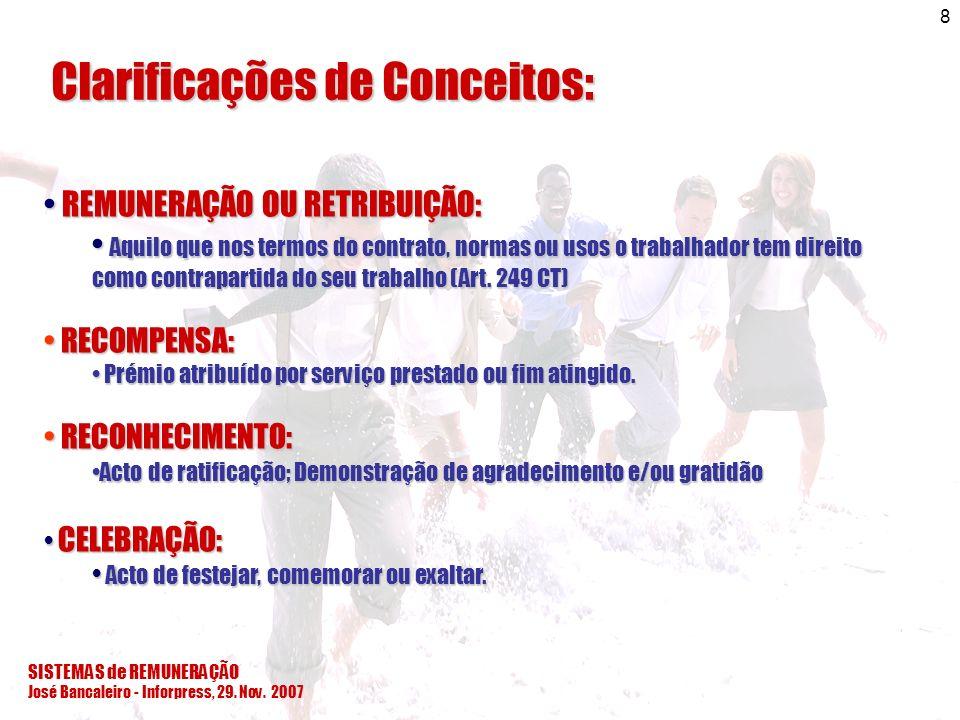 José Bancaleiro - Inforpress, 29. Nov. 2007 8 Clarificações de Conceitos: REMUNERAÇÃO OU RETRIBUIÇÃO: REMUNERAÇÃO OU RETRIBUIÇÃO: Aquilo que nos termo