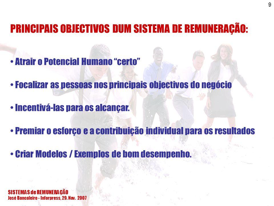 SISTEMAS de REMUNERAÇÃO José Bancaleiro - Inforpress, 29. Nov. 2007 9 PRINCIPAIS OBJECTIVOS DUM SISTEMA DE REMUNERAÇÃO: Atrair o Potencial Humano cert