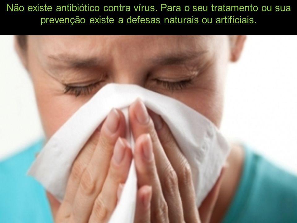 Não existe antibiótico contra vírus. Para o seu tratamento ou sua prevenção existe a defesas naturais ou artificiais.