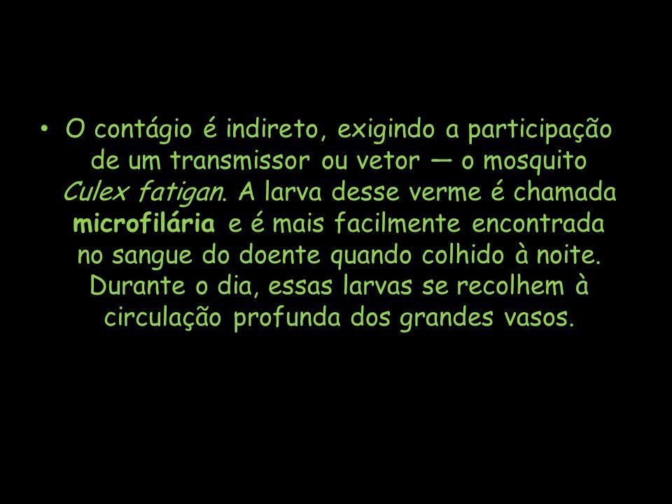 O contágio é indireto, exigindo a participação de um transmissor ou vetor o mosquito Culex fatigan. A larva desse verme é chamada microfilária e é mai