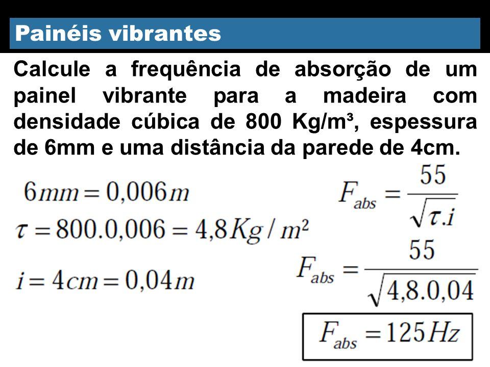 Calcule a frequência de absorção de um painel vibrante para a madeira com densidade cúbica de 800 Kg/m³, espessura de 6mm e uma distância da parede de