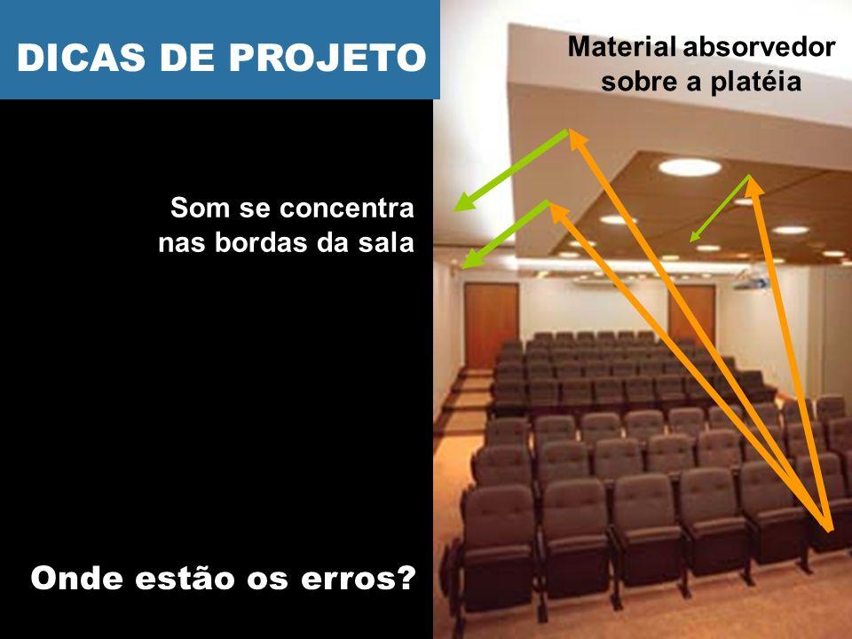 Onde estão os erros? Som se concentra nas bordas da sala Material absorvedor sobre a platéia DICAS DE PROJETO