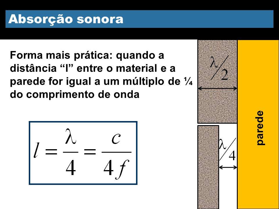 Absorção sonora Forma mais prática: quando a distância l entre o material e a parede for igual a um múltiplo de ¼ do comprimento de onda parede