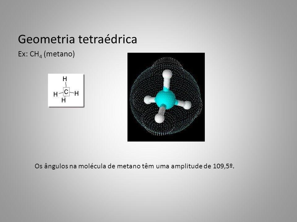 Geometria tetraédrica Ex: CH 4 (metano) Os ângulos na molécula de metano têm uma amplitude de 109,5º.