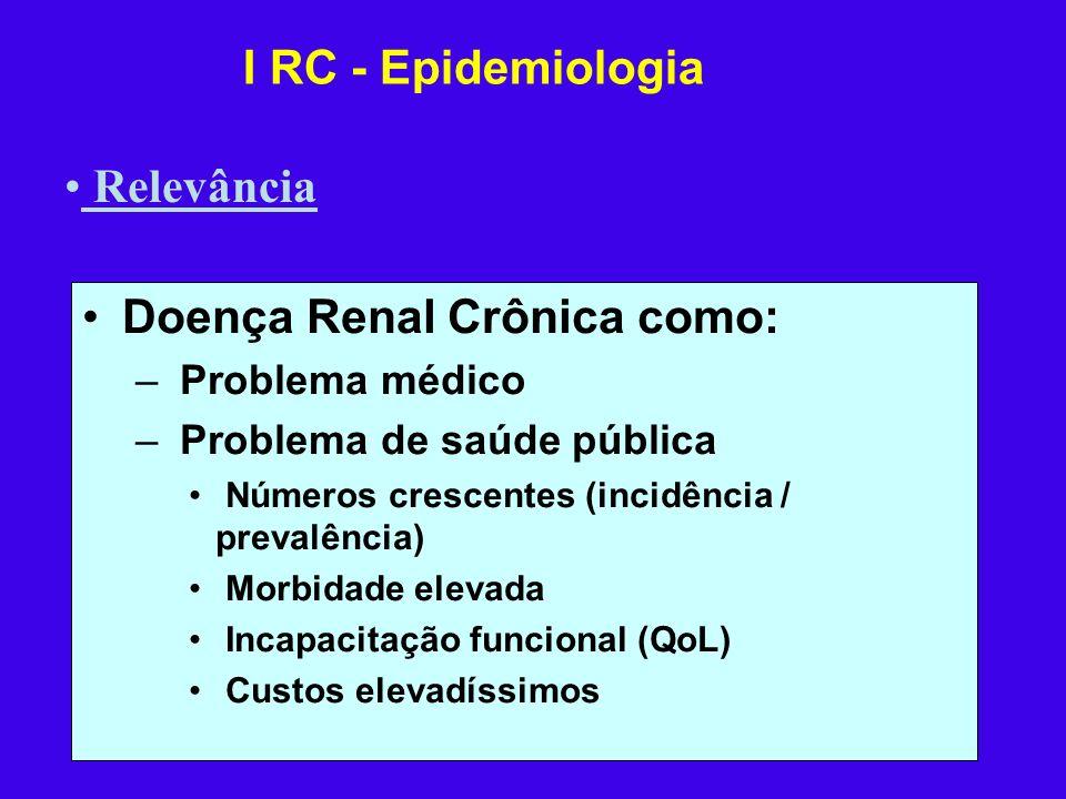 Doença Renal Crônica como: – Problema médico – Problema de saúde pública Números crescentes (incidência / prevalência) Morbidade elevada Incapacitação
