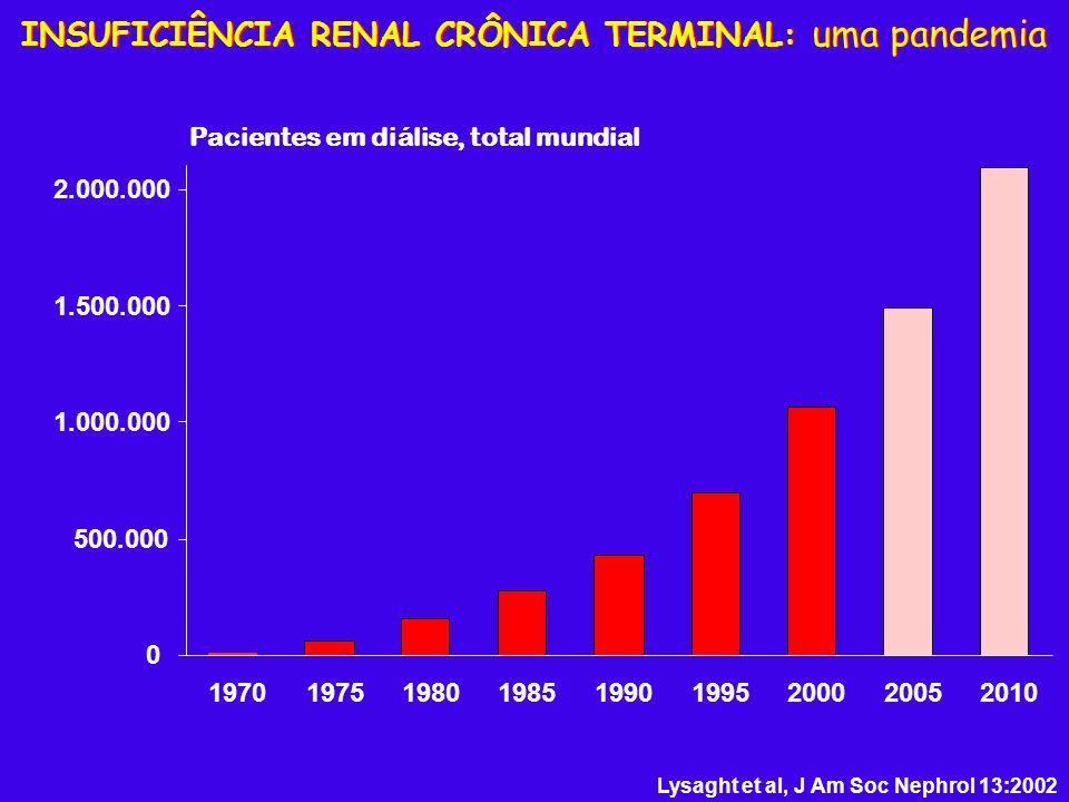 Lysaght et al, J Am Soc Nephrol 13:2002 INSUFICIÊNCIA RENAL CRÔNICA TERMINAL: uma pandemia 0 500.000 1.000.000 1.500.000 2.000.000 Pacientes em diális