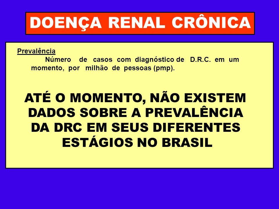 DOENÇA RENAL CRÔNICA ATÉ O MOMENTO, NÃO EXISTEM DADOS SOBRE A PREVALÊNCIA DA DRC EM SEUS DIFERENTES ESTÁGIOS NO BRASIL Prevalência Número de casos com