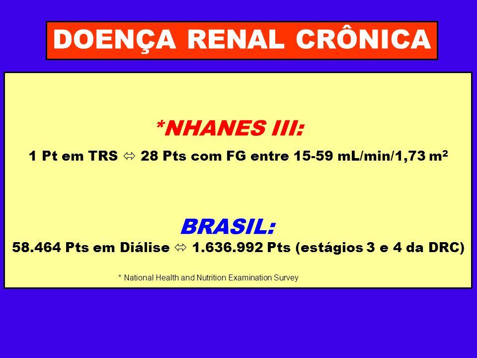 DOENÇA RENAL CRÔNICA *NHANES III: 1 Pt em TRS 28 Pts com FG entre 15-59 mL/min/1,73 m 2 BRASIL: 58.464 Pts em Diálise 1.636.992 Pts (estágios 3 e 4 da