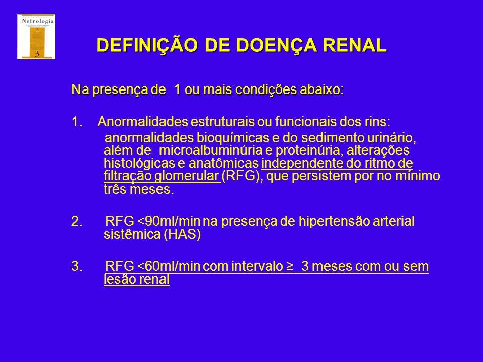 DEFINIÇÃO DE DOENÇA RENAL Na presença de 1 ou mais condições abaixo: 1. Anormalidades estruturais ou funcionais dos rins: anormalidades bioquímicas e