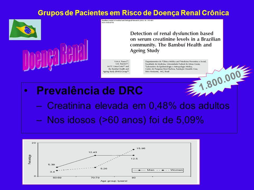 Prevalência de DRC – Creatinina elevada em 0,48% dos adultos – Nos idosos (>60 anos) foi de 5,09% 1.800.000 Grupos de Pacientes em Risco de Doença Ren