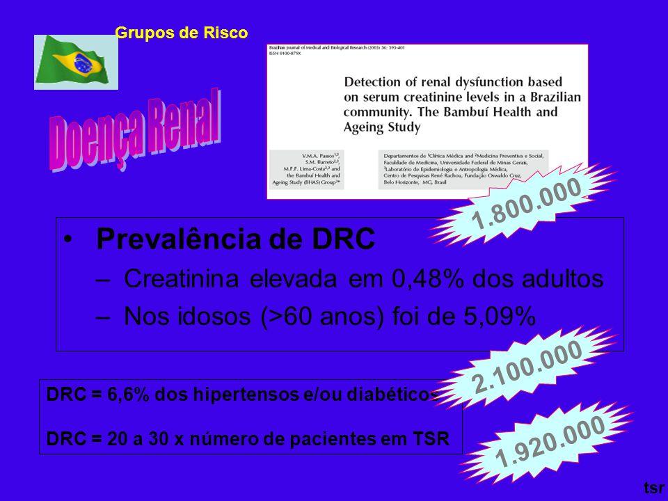 Prevalência de DRC – Creatinina elevada em 0,48% dos adultos – Nos idosos (>60 anos) foi de 5,09% 1.920.000 tsr DRC = 6,6% dos hipertensos e/ou diabét