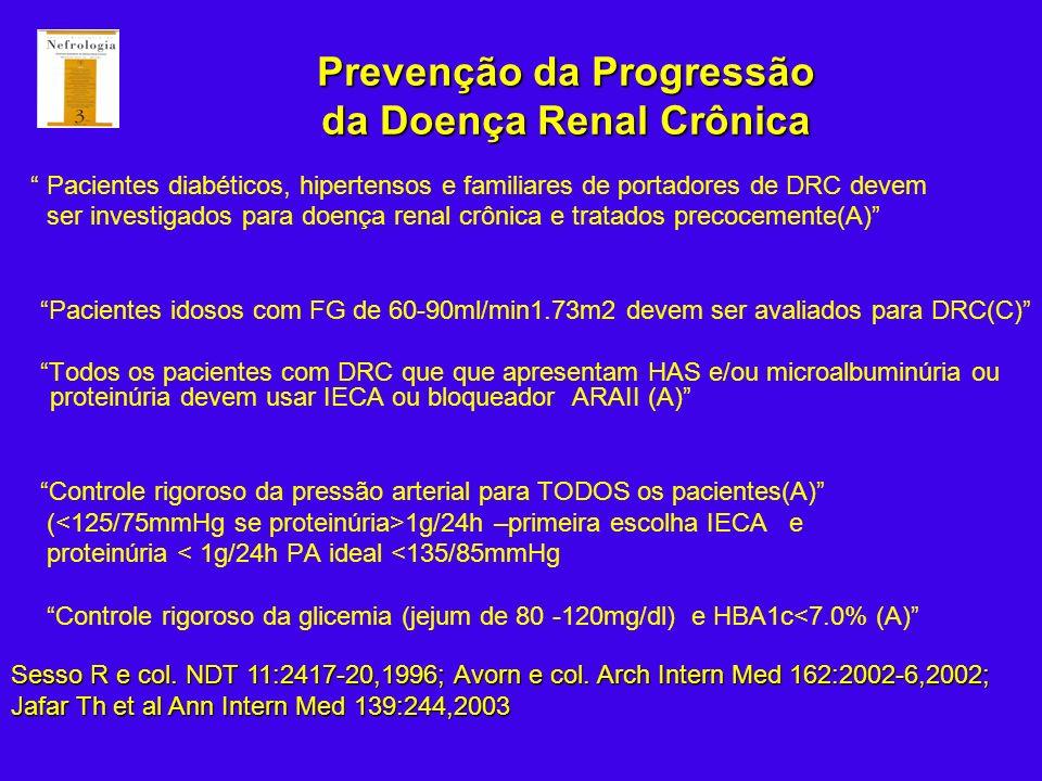 Prevenção da Progressão da Doença Renal Crônica Pacientes diabéticos, hipertensos e familiares de portadores de DRC devem ser investigados para doença