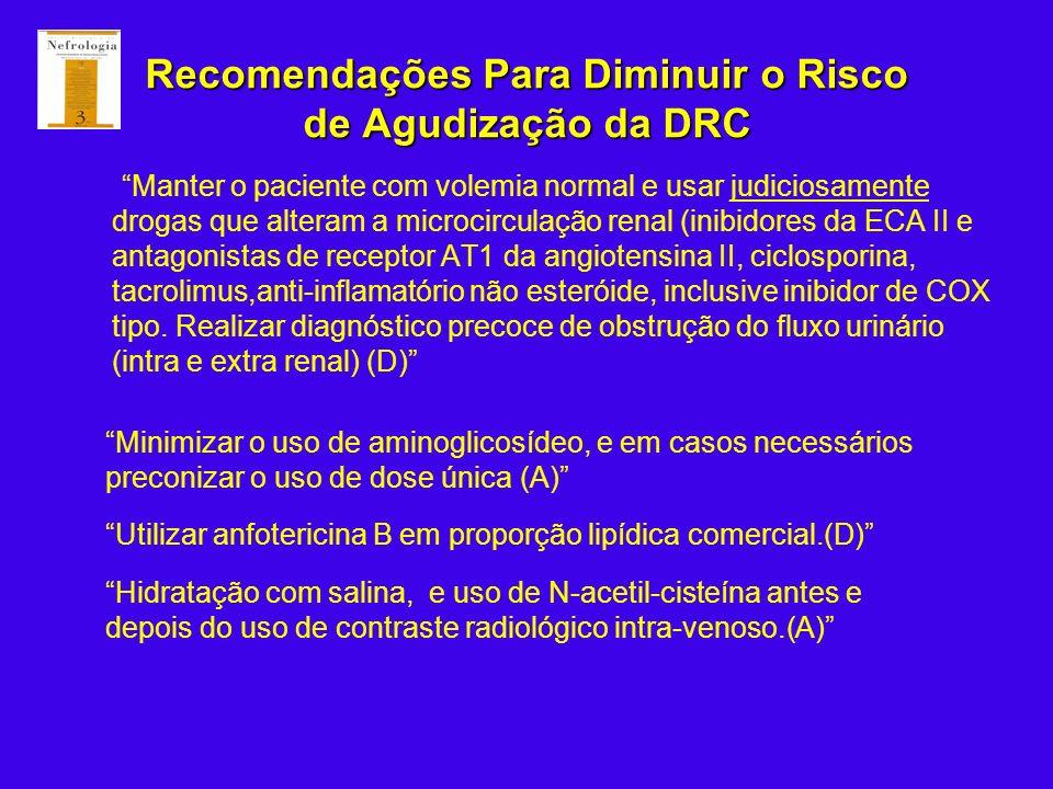 Recomendações Para Diminuir o Risco de Agudização da DRC Manter o paciente com volemia normal e usar judiciosamente drogas que alteram a microcirculaç