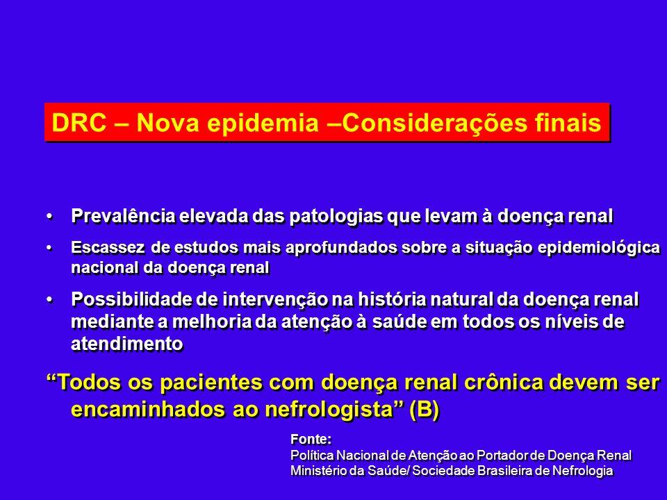 DRC – Nova epidemia –Considerações finais Prevalência elevada das patologias que levam à doença renal Escassez de estudos mais aprofundados sobre a si