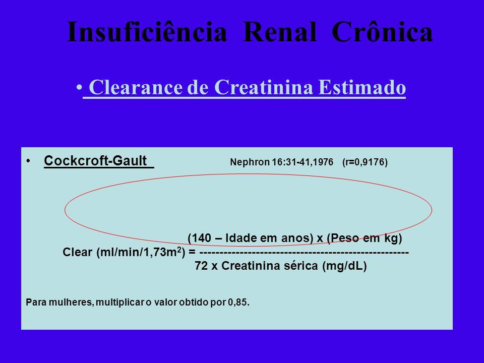 Cockcroft-Gault Nephron 16:31-41,1976 (r=0,9176) (140 – Idade em anos) x (Peso em kg) Clear (ml/min/1,73m 2 ) = --------------------------------------