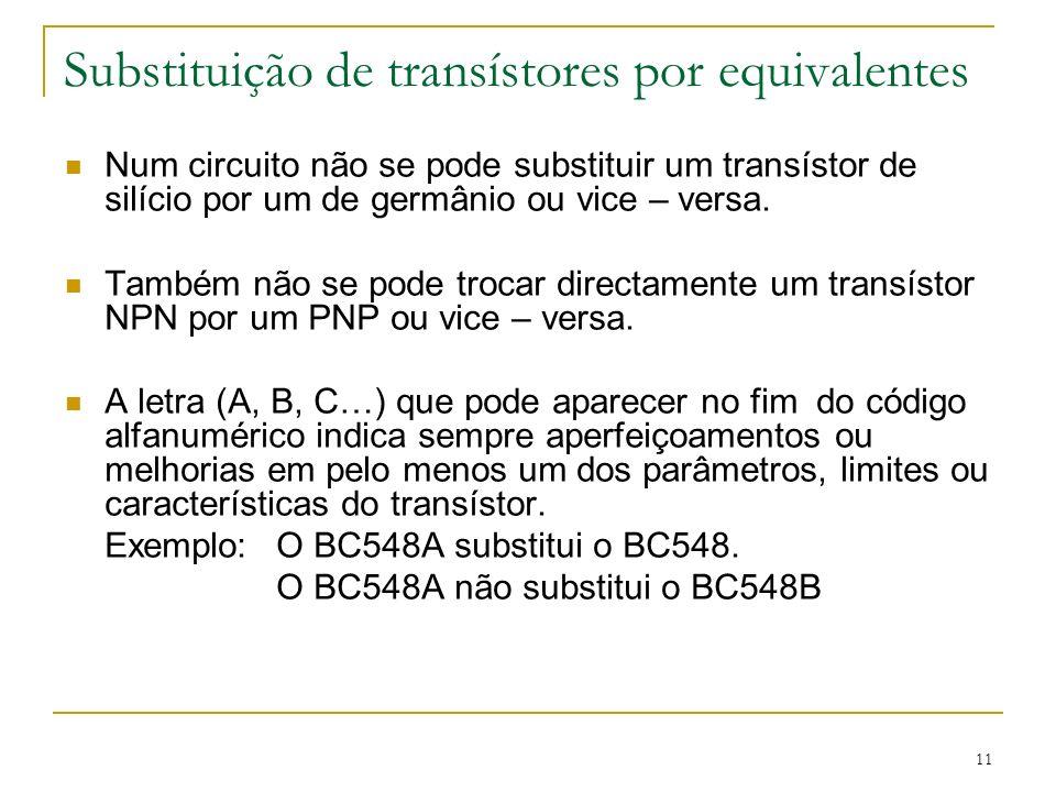 11 Substituição de transístores por equivalentes Num circuito não se pode substituir um transístor de silício por um de germânio ou vice – versa. Tamb