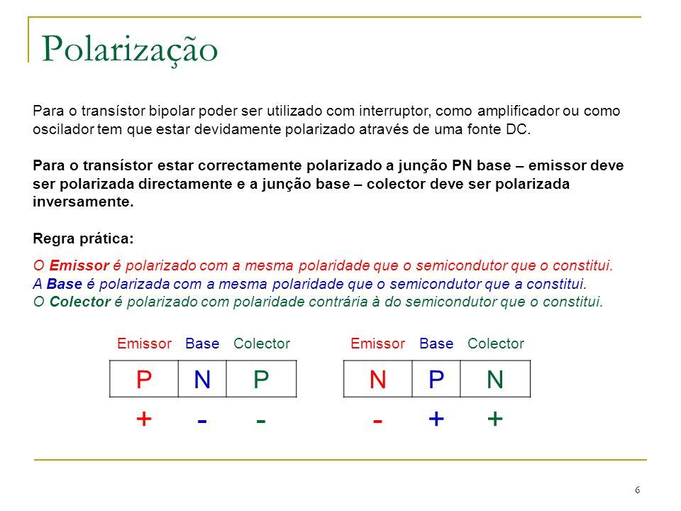 6 Polarização Para o transístor bipolar poder ser utilizado com interruptor, como amplificador ou como oscilador tem que estar devidamente polarizado