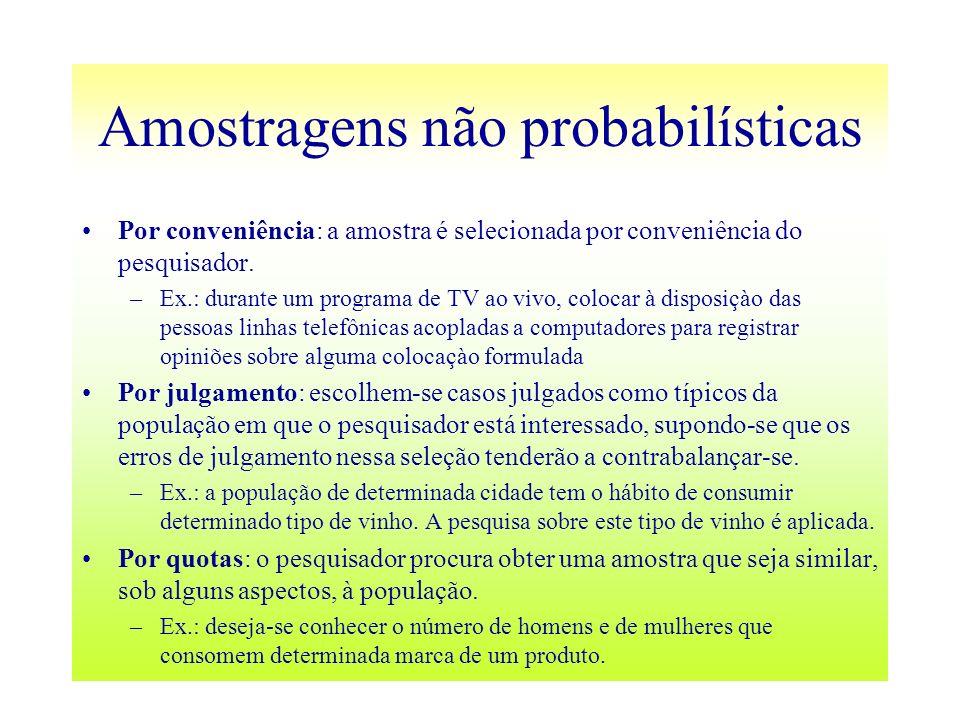 Amostragens não probabilísticas Por conveniência: a amostra é selecionada por conveniência do pesquisador. –Ex.: durante um programa de TV ao vivo, co