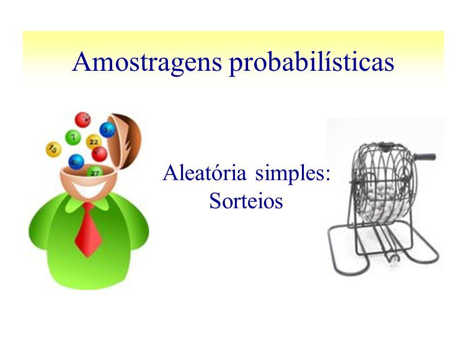 Amostragens probabilísticas Aleatória simples: Sorteios