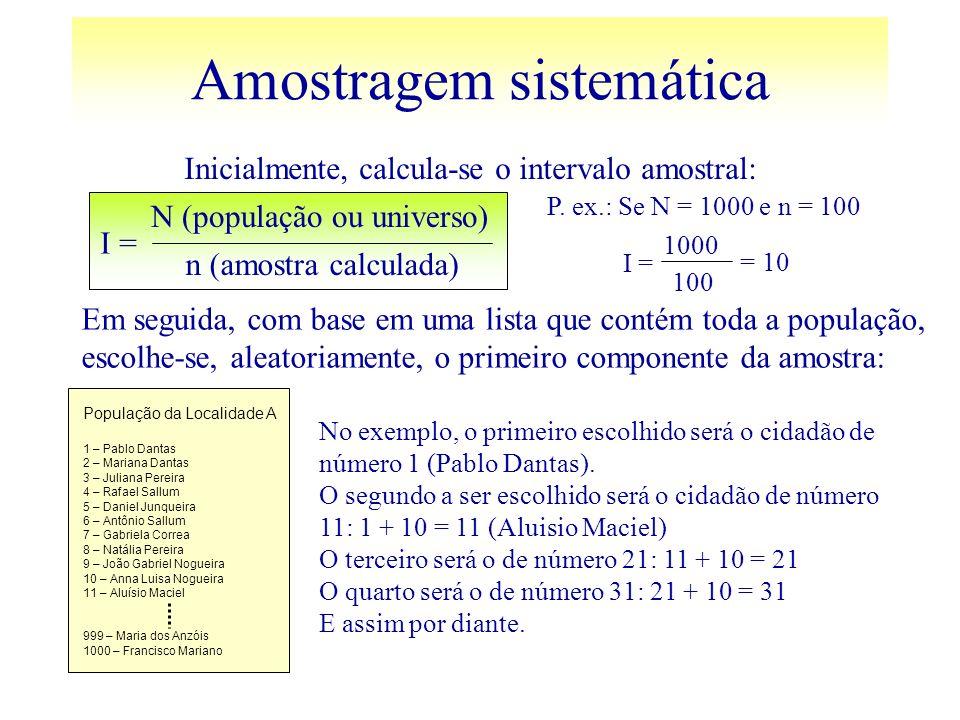 Amostragem sistemática I = N (população ou universo) n (amostra calculada) Inicialmente, calcula-se o intervalo amostral: Em seguida, com base em uma
