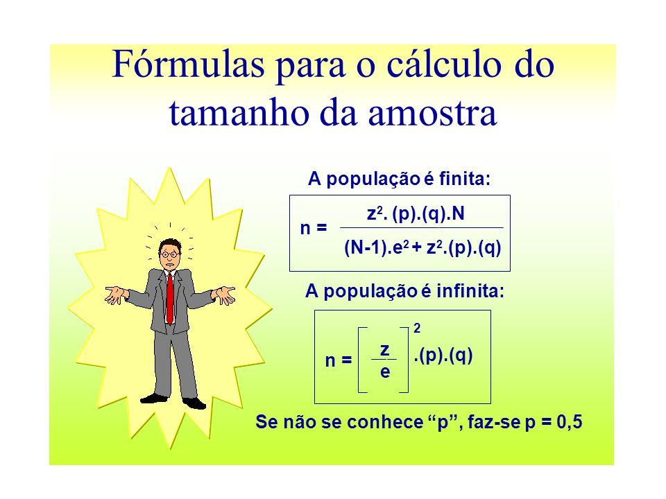 Fórmulas para o cálculo do tamanho da amostra A população é finita: z 2. (p).(q).N (N-1).e 2 + z 2.(p).(q) n = zeze.(p).(q) 2 n = A população é infini