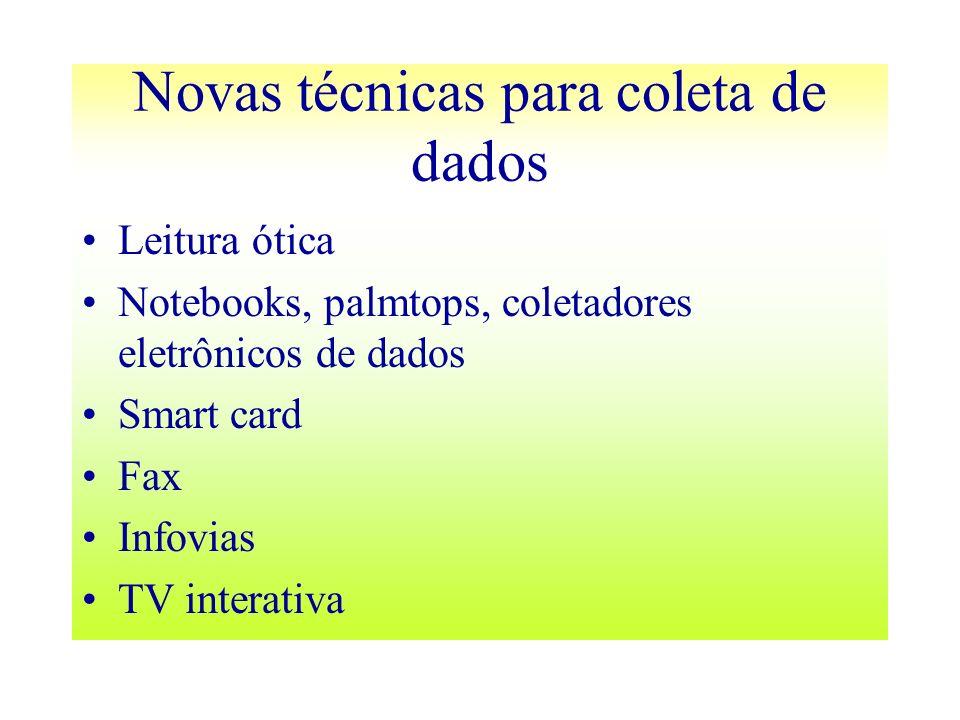 Novas técnicas para coleta de dados Leitura ótica Notebooks, palmtops, coletadores eletrônicos de dados Smart card Fax Infovias TV interativa