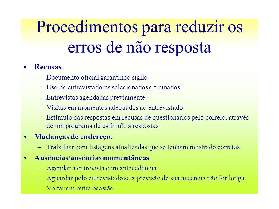 Procedimentos para reduzir os erros de não resposta Recusas: –Documento oficial garantindo sigilo –Uso de entrevistadores selecionados e treinados –En