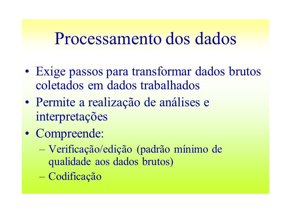 Processamento dos dados Exige passos para transformar dados brutos coletados em dados trabalhados Permite a realização de análises e interpretações Co