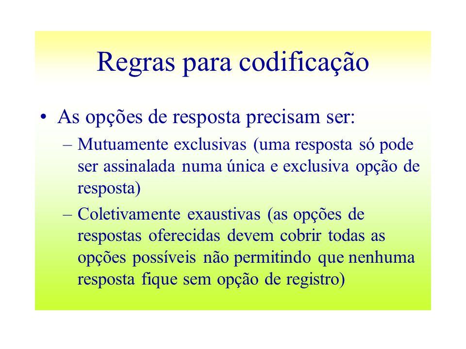 Regras para codificação As opções de resposta precisam ser: –Mutuamente exclusivas (uma resposta só pode ser assinalada numa única e exclusiva opção d