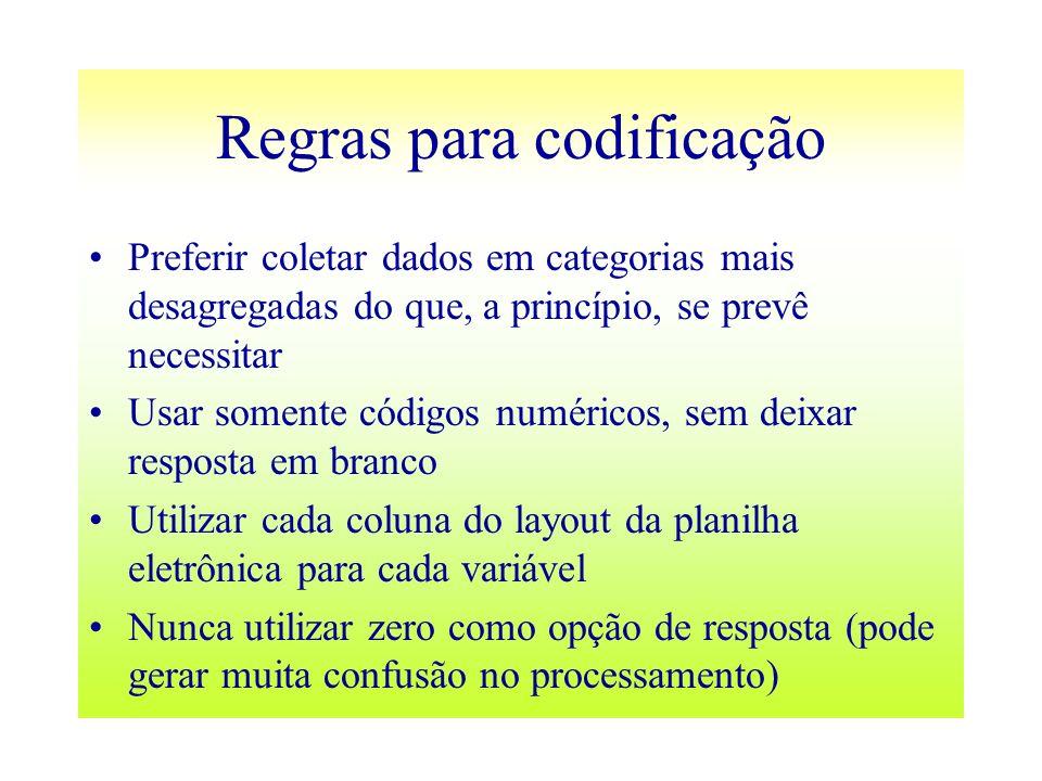 Regras para codificação Preferir coletar dados em categorias mais desagregadas do que, a princípio, se prevê necessitar Usar somente códigos numéricos