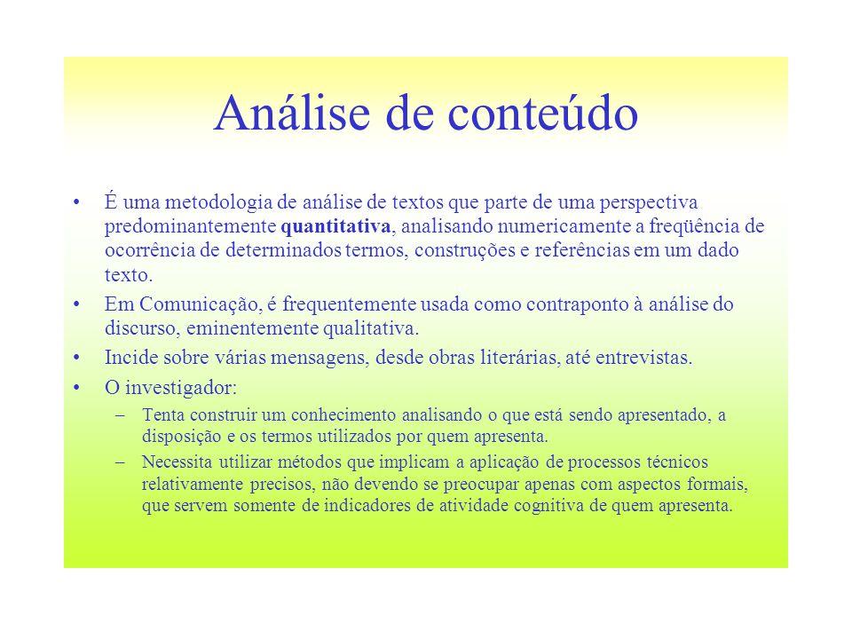Análise de conteúdo É uma metodologia de análise de textos que parte de uma perspectiva predominantemente quantitativa, analisando numericamente a fre