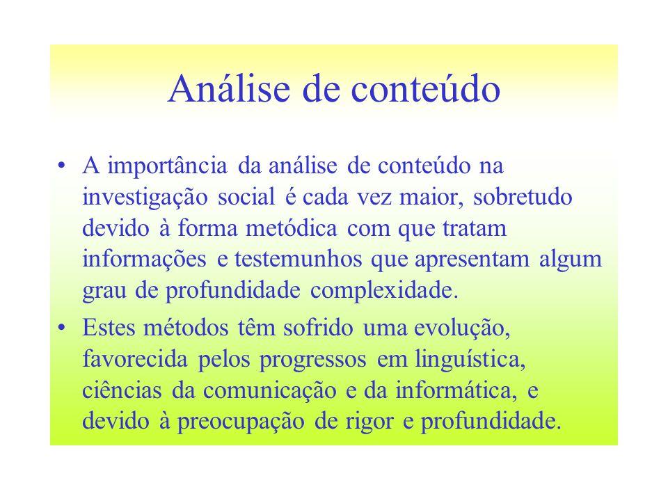 Análise de conteúdo A importância da análise de conteúdo na investigação social é cada vez maior, sobretudo devido à forma metódica com que tratam inf