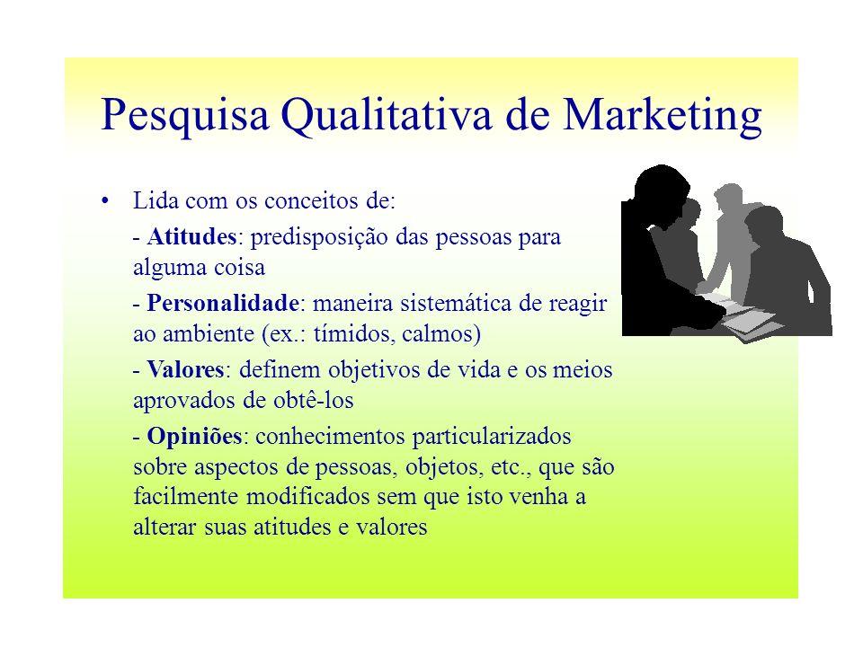 Pesquisa Qualitativa de Marketing Lida com os conceitos de: - Atitudes: predisposição das pessoas para alguma coisa - Personalidade: maneira sistemáti