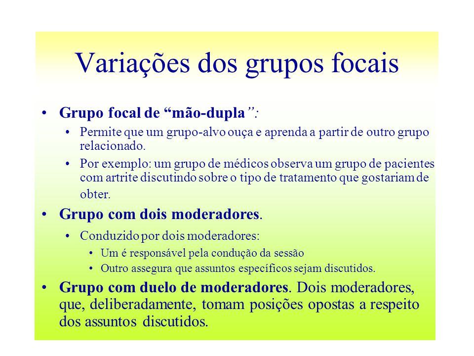 Variações dos grupos focais Grupo focal de mão-dupla: Permite que um grupo-alvo ouça e aprenda a partir de outro grupo relacionado. Por exemplo: um gr