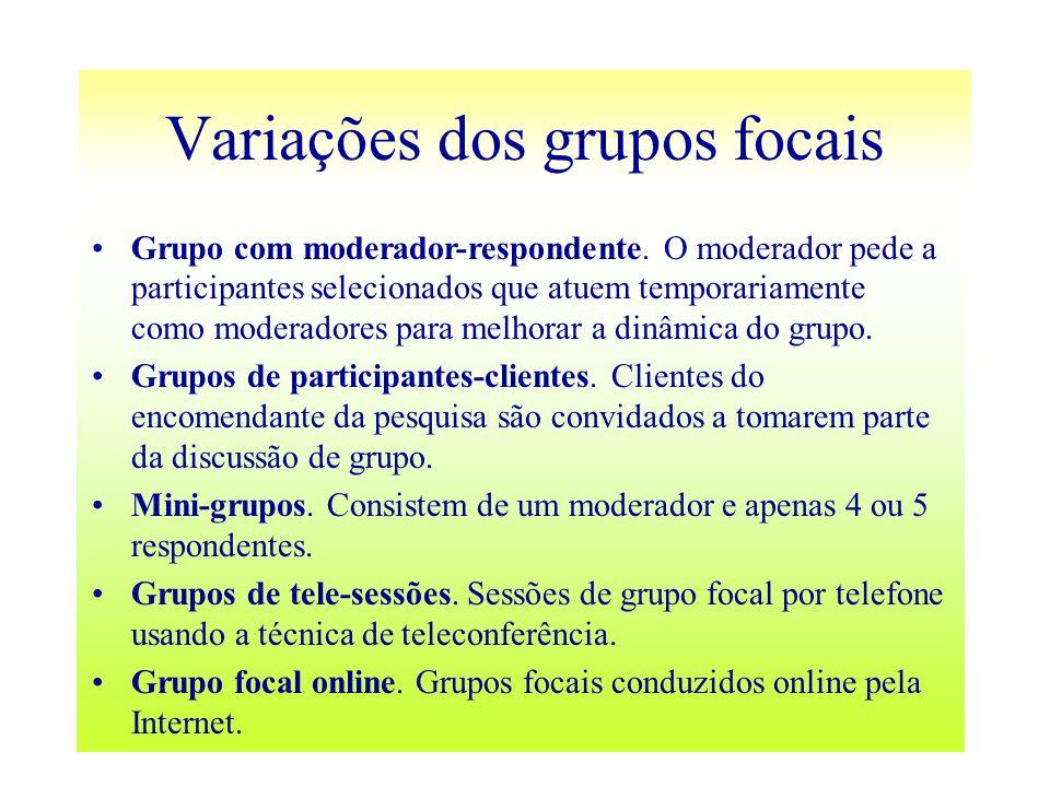 Variações dos grupos focais Grupo com moderador-respondente. O moderador pede a participantes selecionados que atuem temporariamente como moderadores