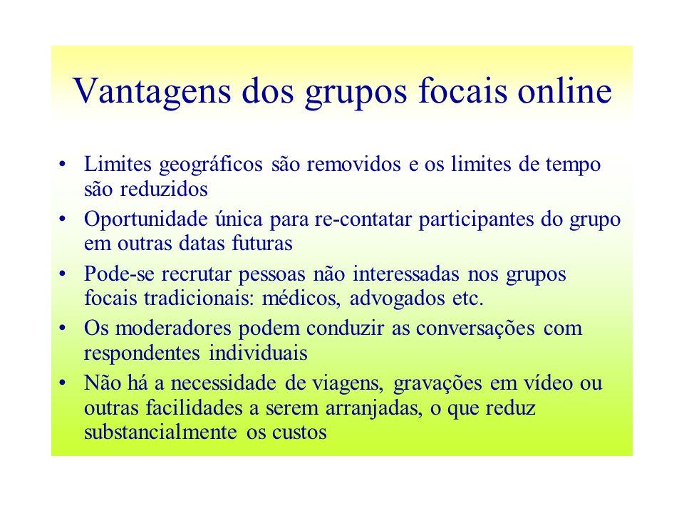 Vantagens dos grupos focais online Limites geográficos são removidos e os limites de tempo são reduzidos Oportunidade única para re-contatar participa