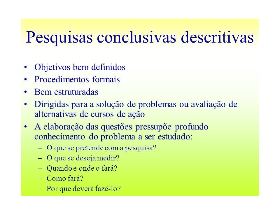 Pesquisas conclusivas descritivas Objetivos bem definidos Procedimentos formais Bem estruturadas Dirigidas para a solução de problemas ou avaliação de