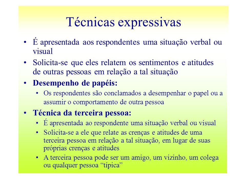 É apresentada aos respondentes uma situação verbal ou visual Solicita-se que eles relatem os sentimentos e atitudes de outras pessoas em relação a tal