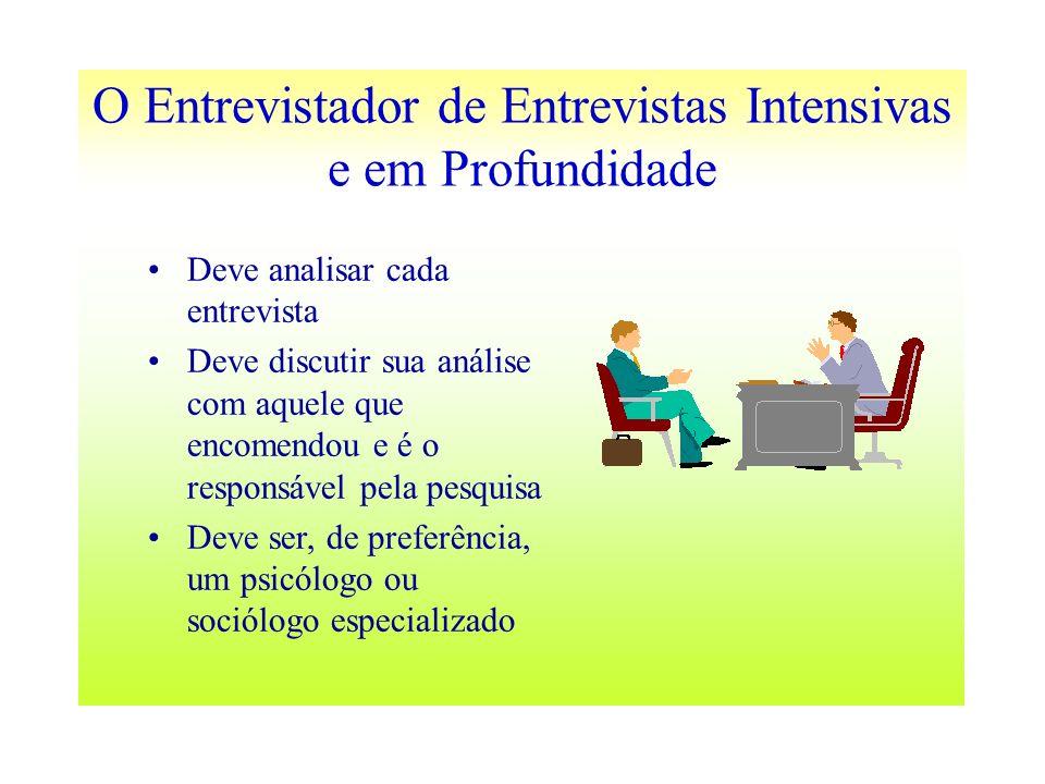 O Entrevistador de Entrevistas Intensivas e em Profundidade Deve analisar cada entrevista Deve discutir sua análise com aquele que encomendou e é o re